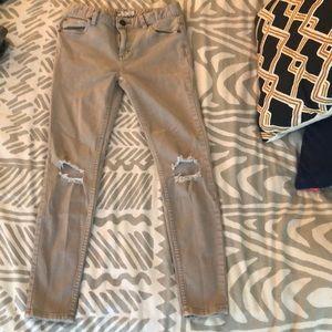 Free People khaki ripped knee jeans
